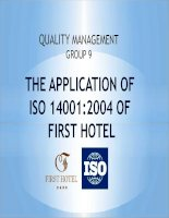 the application of iso 14001-2004 of first hotel