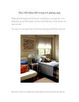 Mẹo tiết kiệm khi trang trí phòng ngủ Phòng ngủ là không gian để bạn thư giãn ppt