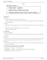 Giáo án hoá học 12 - chương 1 - Sự điện li - Bài 5 - Bài thực hành TÍNH AXIT - BAZƠ ppt