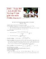 2010– Toán ĐH - kA-đ1,Đề Thi Và Gợi Ý bài giải của môn Toán