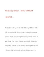 Relative pronoun : WHO ,WHICH ,WHOM.... pps