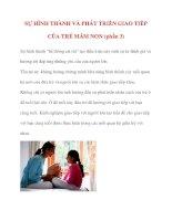 SỰ HÌNH THÀNH VÀ PHÁT TRIỂN GIAO TIẾP CỦA TRẺ MẦM NON (phần 3) Sự hình thành doc