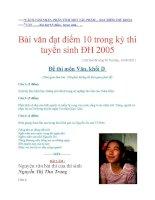 Đề và Bài văn đạt điểm 10 trong kỳ thi tuyển sinh ĐH 2005