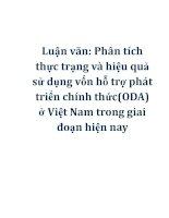 Luận văn: Phân tích thực trạng và hiệu quả sử dụng vốn hỗ trợ phát triển chính thức(ODA) ở Việt Nam trong giai đoạn hiện nay doc