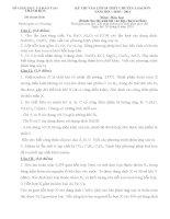 Đề thi + Đáp án Hóa thi vào 10 chuyên lam Sơn