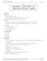 Giáo án hoá học 12 - chương 1 - Sự điện li - Bài 3 - SỰ ĐIỆN LI CỦA NƯỚC. pH CHẤT CHỈ THỊ AXIT – BAZƠ ppt