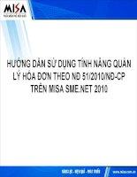 Báo cáo:Hướng dẫn tính năng quản lý hóa đơn theo NĐ 51/2010/NĐ-CP trên MISA SME.NET 2010 pdf
