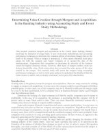 determining value creation through mergers and acquisitions in the banking industry using accounting study and event study methodology