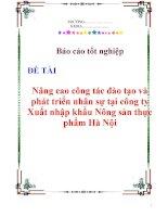 Báo cáo tốt nghiệp: Nâng cao công tác đào tạo và phát triển nhân sự tại công ty Xuất nhập khẩu Nông sản thực phẩm Hà Nội docx
