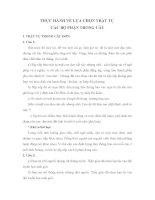 THỰC HÀNH VỀ LỰA CHỌN TRẬT TỰ  CÁC BỘ PHẬN TRONG CÂU