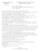 Đề thi tuyển sinh lớp 10 THPT môn Tiếng Anh -tỉnh Bình Định năm học 2010-2011