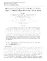 measurement and comparison of credit risk by a markov chain an empirical investigation of bank loans in taiwan