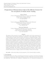 preparation of measurement tools of the effective factors for the acceptance of online stock trading