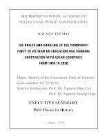 Executive summary PHD thesis in history the policy and guideline of the communist party of vietnam on education and training cooperation with ASEAN countries from 1995 to 2010