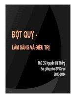 Bài giảng Đột quỵ lâm sàng và điều trị  Thạc sĩ bác sĩ Nguyễn Bá Thắng