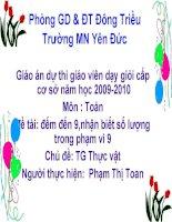 Giáo án dự thi GVDGcấp cơ sở năm học 2009-2010.Môn toán -Số 9 T1 chủ đề TGTV lớp 5-6 tuổi