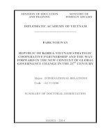 Summary of doctoral dissertation epublic of korea   vietnam strategic cooperative partnership and the way forward in the new context of global governance change in the 21st century