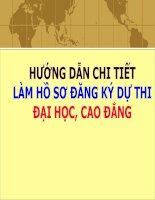 HƯỚNG DẪN CHI TIẾT (Khai báo Hồ sơ đăng ký dự thi ĐH-CĐ) - Tham khảo