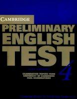 Tiếng Anh B1 Khung Châu Âu của Cambridge (PET 4 book )