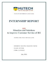 INTERNSHIP REPORT: situation and solutions to improve customer service of IEI