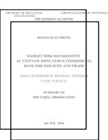 summary of doctoral dissertatio market risk management at vietnam joint stock commercial bank for industry and trade