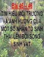TH- Tim hieu moi truong va anh huong cua mot so nhan to sinh thai len doi song sinh vat