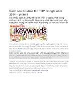 Cách seo từ khóa lên TOP google năm 2014