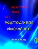 BAI 13. BAO MAT THONG TIN TRONG CAC HE CSDL