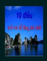10 điều tuổi trẻ dễ lãng phí nhất