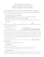 BÀI GIẢI CHI TIẾT THAM KHẢO môn thi  SINH học – khối  b – mã đề 426 năm 2014