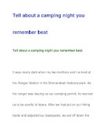 Tell about a camping night youremember best ppt