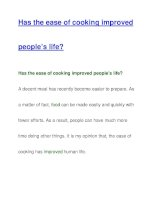 Has the ease of cooking improvedpeople's life? ppt