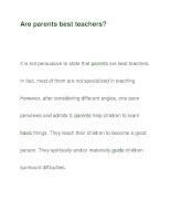 Are parents best teachers? pps