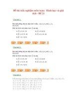 Đề thi trắc nghiệm môn toán: Hình học và giải tích - Đề 21 ppt
