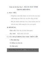 Giáo án tin học lớp 1 - BÀI 15: MÁY TÍNH TRONG ĐỜI SỐNG pptx