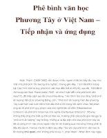 Phê bình văn học Phương Tây ở Việt Nam – Tiếp nhận và ứng dụng ppt