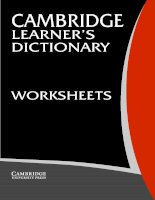 Cambridge Learner's Dictionary Worksheets phần 1 potx