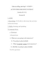 Giáo án tiếng anh lớp 5 - UNIT 9 ACTIVITIES FOR NEXT SUNDAY Section B (1-3) Period 45 doc