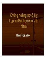 Khủng hoảng nợ ở Hy Lạp và Bài học cho Việt Nam
