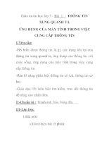 Giáo án tin học lớp 3 - Bài 1 : THÔNG TIN XUNG QUANH TA ỨNG DỤNG CỦA MÁY TÍNH TRONG VIỆC CUNG CẤP THÔNG TIN docx