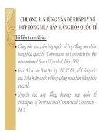 Bài giảng Pháp luật kinh doanh quốc tế: Chương 3 Những vấn đề pháp lý về hợp đồng mua bán hàng hóa quốc tế  Phạm Thị Diệp Hạnh