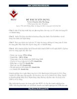Đề thi tuyển chuyên viên tín dụng BIDV ppt