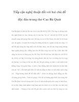 Tiếp cận nghệ thuật đối với hai chủ đề độc đáo trong thơ Cao Bá Quát doc