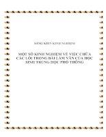 skkn một số kinh nghiệm về việc chữa các lỗi trong bài làm văn của học sinh trung học phổ thông