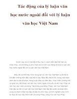 Tác động của lý luận văn học nước ngoài đối với lý luận văn học Việt Nam pdf