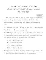 ĐỀ THI THỬ TỐT NGHIỆP NĂM HỌC 2010-2011 Môn SINH HỌC Mã đề: 145 TRƯỜNG THPT NGUYỄN ĐỨC CẢNH potx