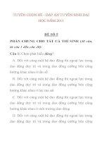 TUYỂN CHỌN ĐỀ - ĐÁP ÁN TUYỂN SINH ĐẠI HỌC NĂM 2011 ĐỀ SỐ 5 PHẦN CHUNG CHO doc