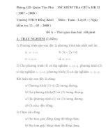 ĐỀ KIỂM TRA GIỮA HK II Môn : Toán - Lớp 8 pptx