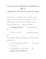TUYỂN TẬP CÂU HỎI TRẮC NGHIỆM SINH HỌC 12 CHƯƠNG IV. ỨNG DỤNG DI TRUYỀN HỌC pot