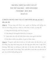 ĐỀ THI THỬ ĐẠI HỌC MÔN SINH HỌC Mã đề 234 NĂM HỌC 2010- 2011TRƯỜNG THPT NGUYỄN VĂN CỪ pdf